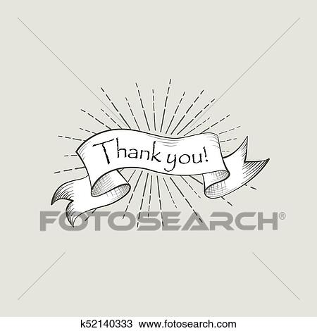 drawing of thank you sign engraving lettering flag banner over