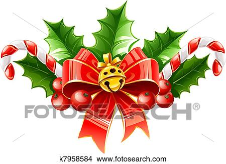Clipart Weihnachtsdeko Von Roter Bogen Mit Goldglocke Und