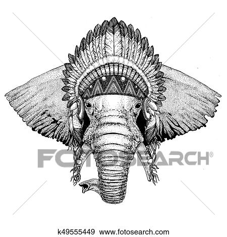Africaine Ou éléphant Indien Main Dessiné Illustration Pour Tatouage E Banque D Illustrations