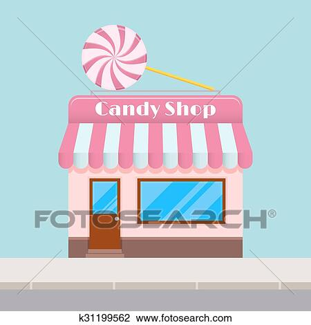 Bright cartoon candy store with a canopy Clipart