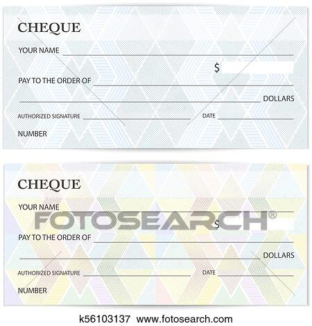 clip art of check cheque chequebook template guilloche pattern