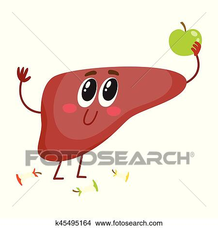 Clipart of Cute and funny, smiling human liver character holding ...