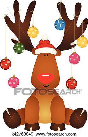 cute reindeer sitting with glass ball christmas clip art k42763849 fotosearch fotosearch
