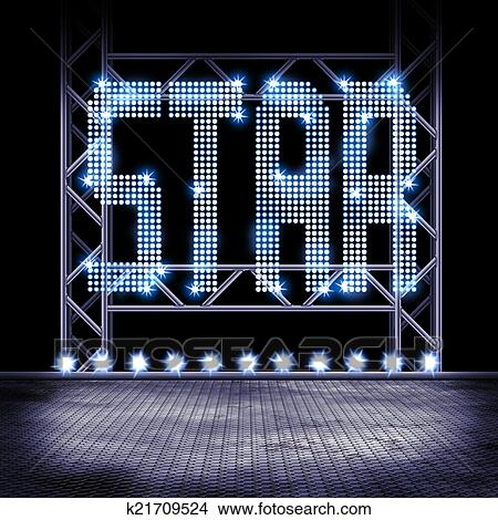Illustration Of A Empty Stage With Lights And Word STAR