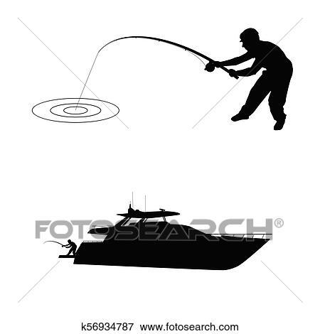 Fisherman Silhouette With Boat Clip Art K56934787 Fotosearch