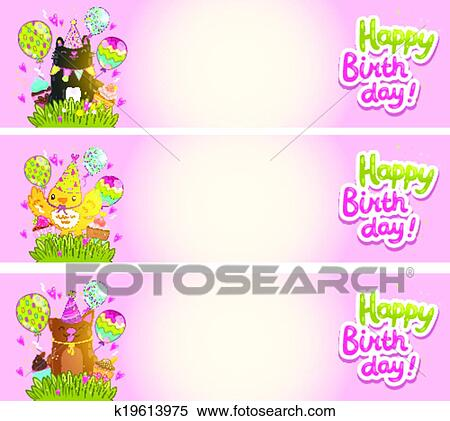 Clipart Of Happy Birthday Cards With Cat Dog Bird K19613975