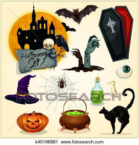 Clipart - horror, deko, elemente, für, halloween, design k40196881 ...