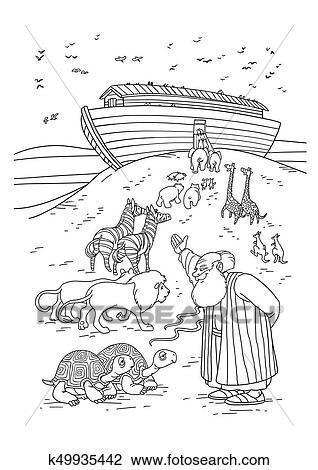 Noe Convida Animais Entrar A Arca Desenho K49935442