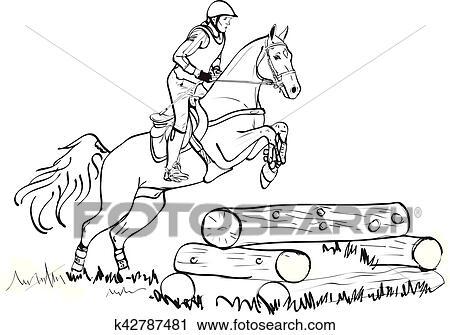 overwinnen kruis land hindernissen in paarde