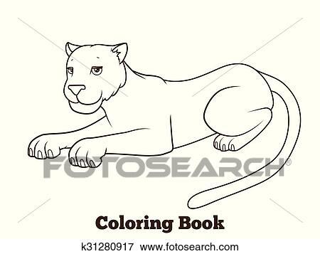 Clip Art Panther Karikatur Ausmalbilder Vektor Abbildung
