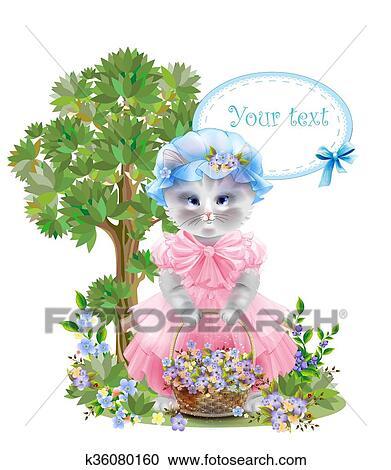 Portrait, de, les, rigolote, chat, habillé, dans rose, robe, à, panier,  entiers, de, flowers., été, meadow., anniversaire, card., vacances,