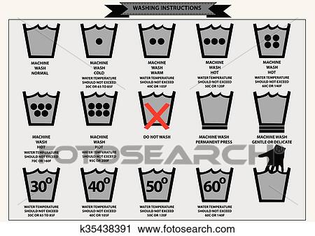 Clipart Of Set Of Washing Instruction Symbols K35438391 Search