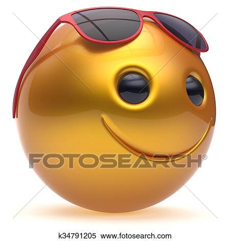 Sorriso faccia allegro testa palla sfera emoticon cartone