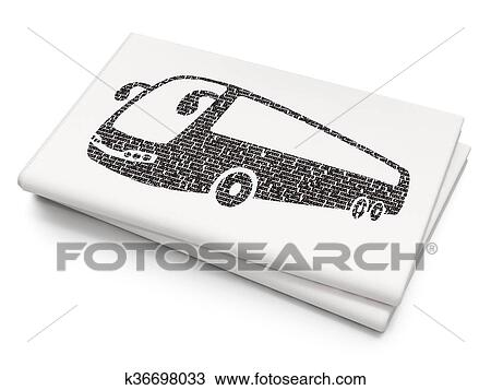 Drawing Of Vacation Concept Bus On Blank Newspaper Background