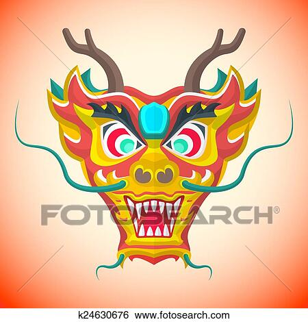 clip art vector flat design chinese new year red dragon mask illustration fotosearch