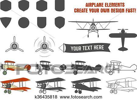 Vendange Avion Symbols Biplan Vecteur Graphique Labels Retro Avion Insignes Conception Elements Aviation Timbres Vecteur