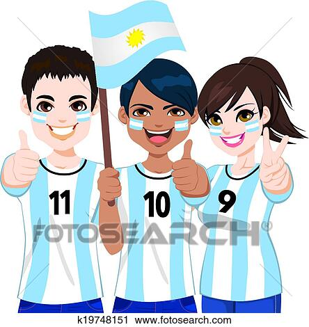 Argentinisch Fussballfans Clipart K19748151 Fotosearch