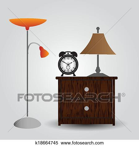 Bedside table clipart  Clipart of bedroom bedside table and alarm clock eps10 k18664745 ...