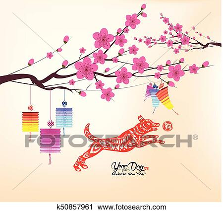 chinese new year 2018 background with lantern and plum blossom