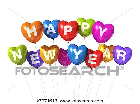 colored happy new year heart shaped balloons isolated on white