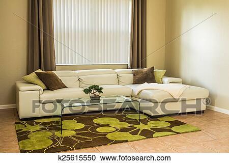 Gemuetlicher, wohnzimmer, in, olive, grün, farben Stock Bild