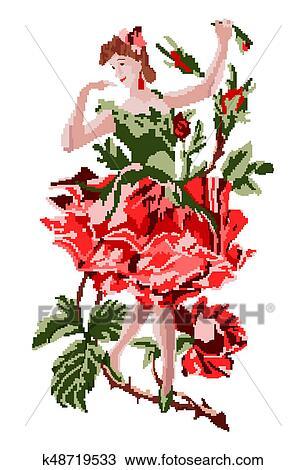 Girl As Flower Rose Dancing In A Branch Drawing K48719533