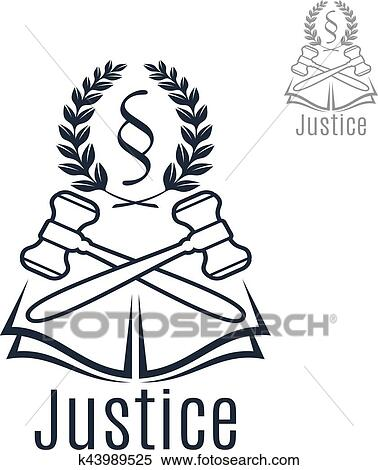Clipart Of Justice Legal Vector Emblem Of Gavel Wreath Book