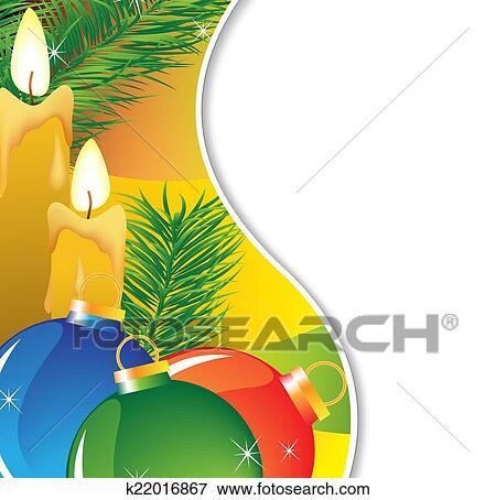 clip art tannenzweige und brennender kerzen k22016867. Black Bedroom Furniture Sets. Home Design Ideas