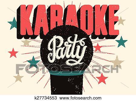Karaoke party poster. Clipart   k27734553   Fotosearch  Karaoke