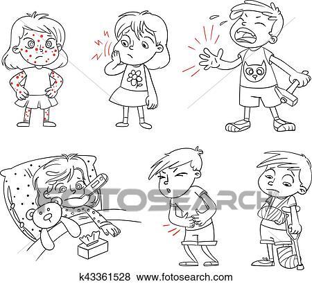 Clip Art Kindern Bekommen Sick Lustig Karikatur Zeichen