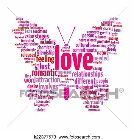 liefde, tekst, wolk tekening | k22377573 | fotosearch
