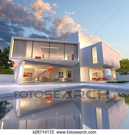 Maison, cube, deconstruction Dessin
