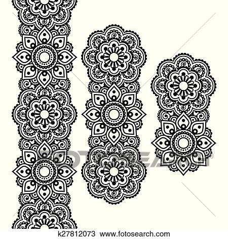 32f802c05 Mehndi, Indian Henna tattoo pattern Clipart | k27812073 | Fotosearch