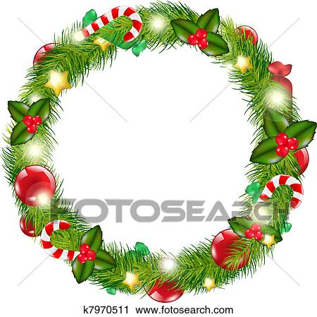 clipart of merry christmas wreath k7970511 search clip art rh fotosearch com free clipart of christmas wreaths christmas wreath clipart free
