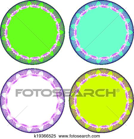 Clipart of Pink Marvel of Peru circle frame k19366525 - Search Clip ...