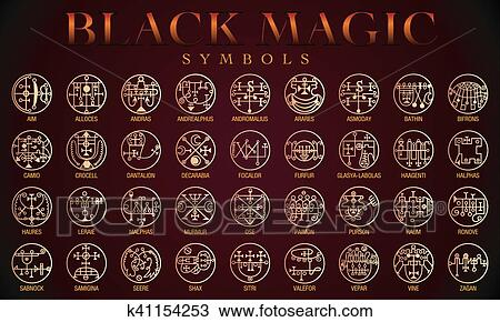 Clipart Of Set Of Black Magic Symbols K41154253 Search Clip Art