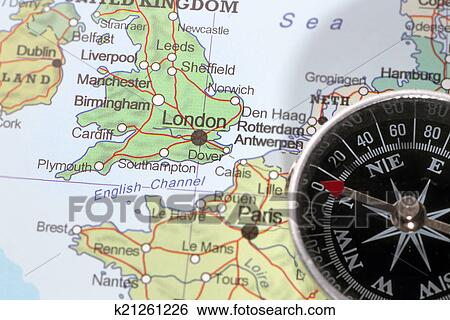 Travel destination London United Kingdom, map with compass Stock ...
