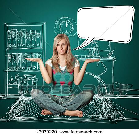 woman in lotus pose with speech bubble stock image