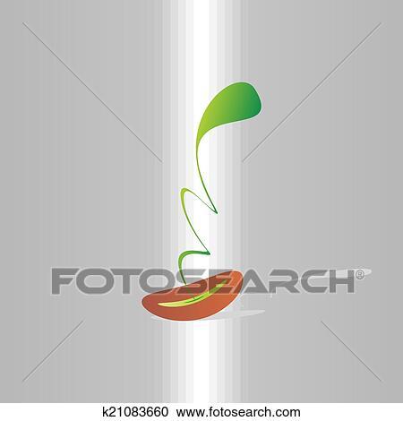 種 発芽 抽象的 植物 出生 成長 Eco デザイン クリップアート