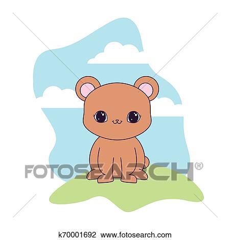 Cute Urso Animal Em Paisagem Natural Clipart K70001692