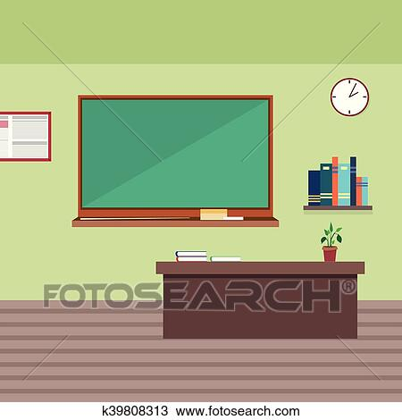 Clipart Of Empty School Class Room Interior K39808313