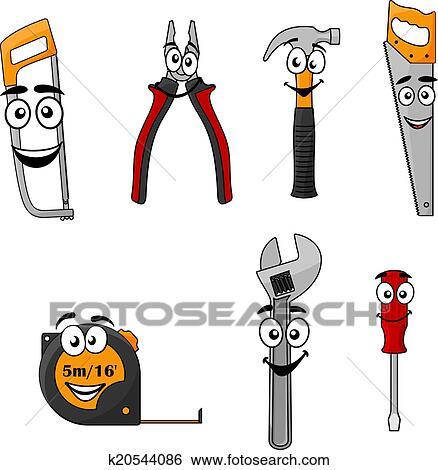Clipart ensemble de dessin anim bricolage outils - Clipart bricolage ...