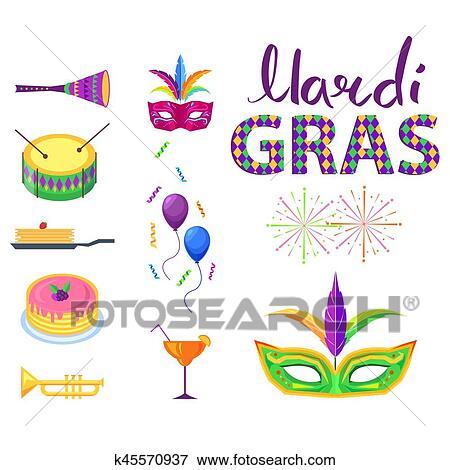 Clip Art Fasching Plakat Mit Buntes Kirmes Symbole K45570937