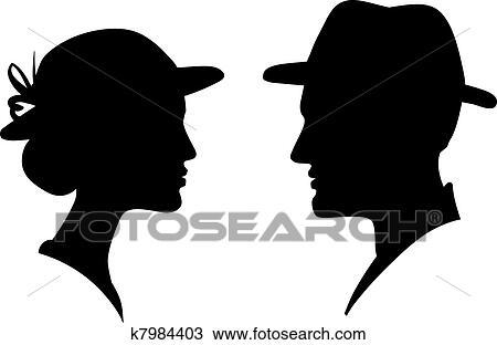 Homem Mulher Rosto Perfil Silueta Desenho K7984403 Fotosearch