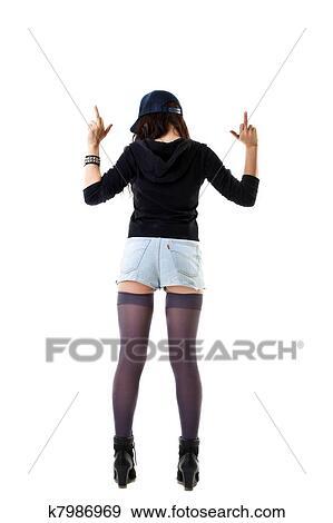 Junge Frau In Grunge Stil Stehen Mit Ficken Zeichen Stock