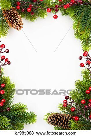 Fotorahmen Weihnachten.Kunst Weihnachten Rahmen Mit Tanne Und Christdornbeere Stock Foto