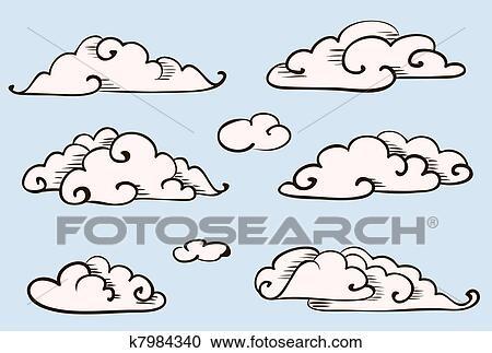 banque dillustrations nuages ensemble vendange stylis dessin - Dessin De Nuage