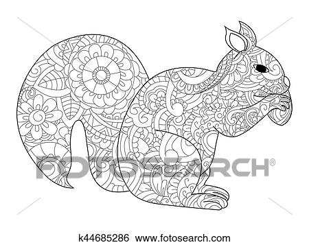 Vector Illustration Of The Squirrel With Nut In Zentangle And Ethcnic Style Tattoo Coloring Page T Shirt Card Poster Print Design