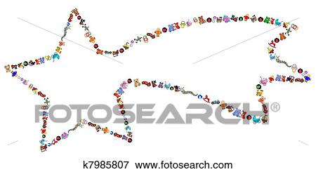 Clip Art Of Star With Toys Border K7985807 Search Clipart