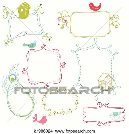 Clipart of Sweet Doodle Frames with Birds and Bird Houses k7986024 ...
